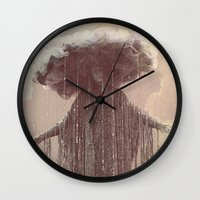 lady gaga Wall Clocks featuring storm lady by Maria Enache