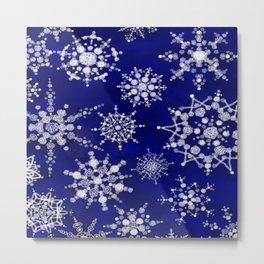 Snowflakes Floating through the Sky Metal Print