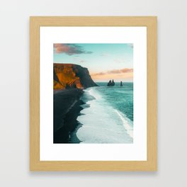 Iceland black sand beach sunset Framed Art Print