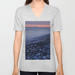 """""""Shiny rocks"""" At pink sunset. Spain, Gibraltar and Africa in one photo. Unisex V-Neck"""