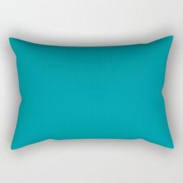 Mid Tone Tropical Aqua Blue Green Solid Color Inspired by Behr Bella Vista P470-6 Rectangular Pillow
