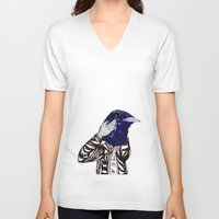 leather V-neck T-shirts featuring leather bird by Hitch