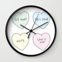 sassy Wall Clocks featuring Sassy Hearts by laurenschroer