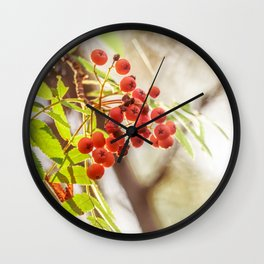 Rowan berries Wall Clock