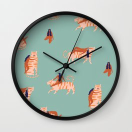 Tigers and girls Wall Clock