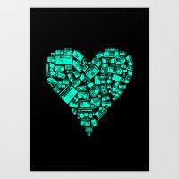 Boombox Heart Art Print