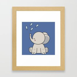 Kawaii Cute Happy Elephant Framed Art Print