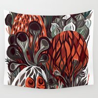 mushrooms Wall Tapestries featuring Mushrooms by pam wishbow