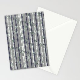Bamboo Forest Pattern - Grey Blue White Stationery Cards