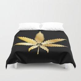 Gold Cannabis Leaf Duvet Cover