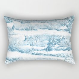 Blue marble streaked wash drawing Rectangular Pillow