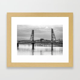 Hawthorne Bridge in Portland in Black and White Framed Art Print