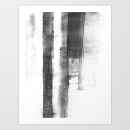 """Black and White Minimalist Geometric Abstract Painting """"Structure 2"""" Art Print"""