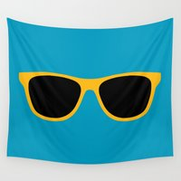 sunglasses Wall Tapestries featuring Yellow Sunglasses by Color and Patterns