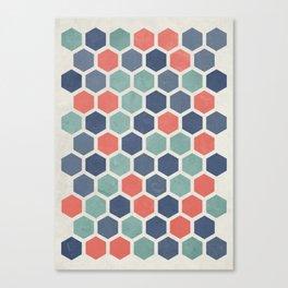 Honeycomb Geometrics, Vintage, Throw-Pillows, Art-Prints Canvas Print