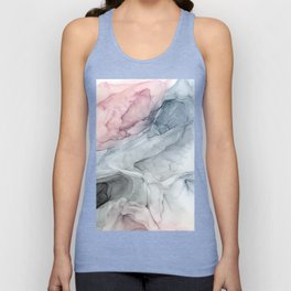 Pastel Blush, Grey and Blue Ink Clouds Painting Unisex Tank Top