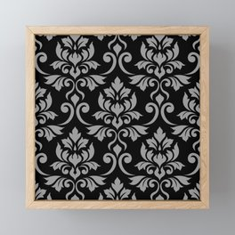 Feuille Damask Pattern Gray on Black Framed Mini Art Print