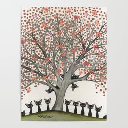 Barbados Whimsical Cats in Tree Poster
