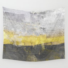 Yellow and Grey Abstract Painting - Horizontal Wall Tapestry