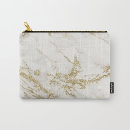 Elegant chic white gray gold glitter marble pattern Carry-All Pouch