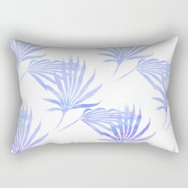 Palmetto Leaf Fronds Print Blue Rectangular Pillow