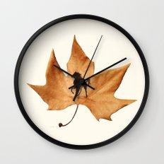 Horse on a dried leaf Wall Clock