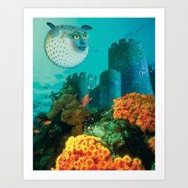 Pufferfish Girl Art Print