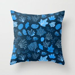 Hand Drawn Deep Sea Coral Pattern Throw Pillow
