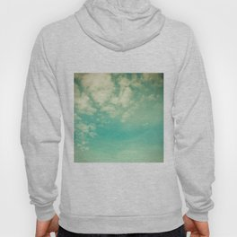Retro Vintage Blue Turquoise Fall Sky and Clouds Hoody