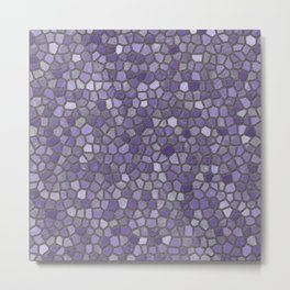 Faux Stone Mosaic in Purples Metal Print
