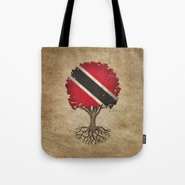 Vintage Tree of Life with Flag of Trinidad and Tobago Tote Bag