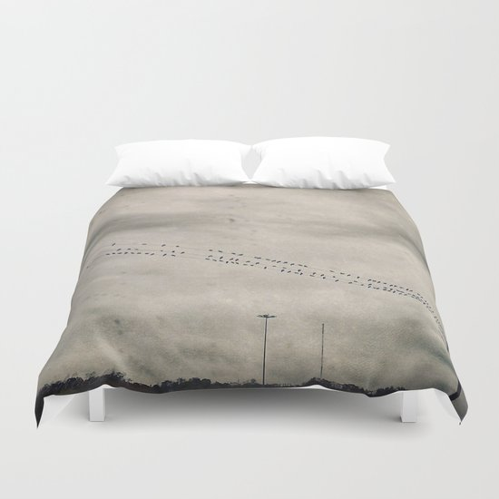 Birds in the Rain Duvet Cover
