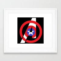 avenger Framed Art Prints featuring Captain Avenger by foreverwars