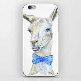 Llama with a Bow Tie Watercolor iPhone Skin