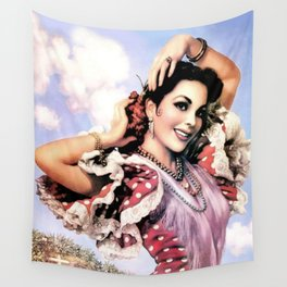 Jesus Helguera Painting of a Delightful Mexican Calendar Girl Wall Tapestry