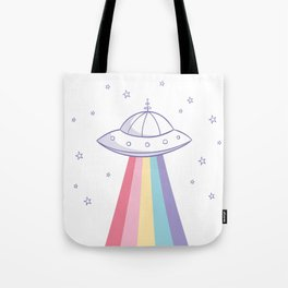 Colorful rainbow space ufo Tote Bag