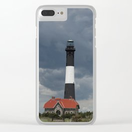 Dramatic Sky Over Fire Island Light Clear iPhone Case