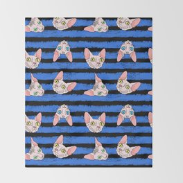 sphynx cats on blue and black Throw Blanket