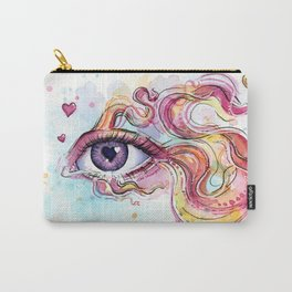Eye Betta Fish Surreal Animal Hearts Watercolor Carry-All Pouch