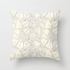 Paper Airplanes Faux Gold on Grey Throw Pillow