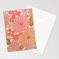 Retro Floral Sheets pink Stationery Cards