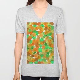 Watercolor Circles- Orange and Green Palette Unisex V-Neck