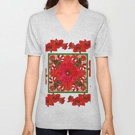 RED AMARYLLIS FLOWERS & HOLIDAY CANDY CANE FLORAL ART Unisex V-Neck