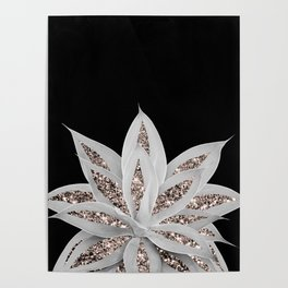 Gray Agave with Rose Gold Glitter #2 #shiny #tropical #decor #art #society6 Poster
