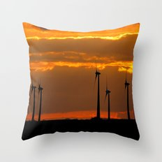 MM - Wind turbines in the sunset Throw Pillow