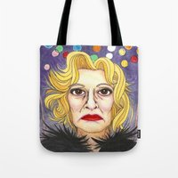 jessica lange Tote Bags featuring Ms. Lange  by Insomnious