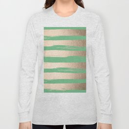 Painted Stripes Gold Tropical Green Long Sleeve T-shirt