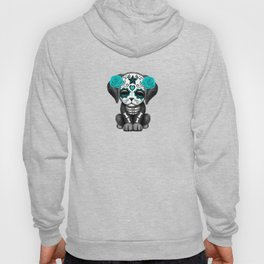 Cute Blue and Pink Day of the Dead Puppy Dog Hoody