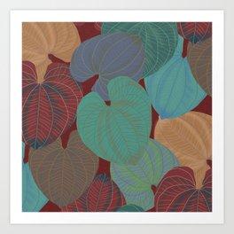 Terra Cotta Leaves Art Print