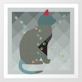 Crazy Cat Track Squares Art Print